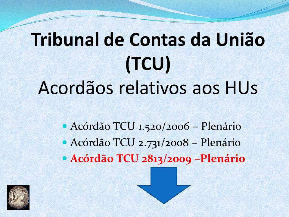 Tribunal de Contas da União (TCU) Acordãos relativos aos HUs