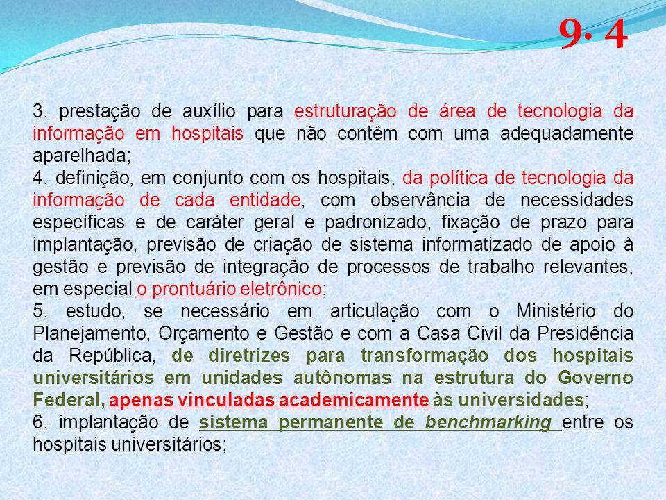 9. 4 3. prestação de auxílio para estruturação de área de tecnologia da informação em hospitais que não contêm com uma adequadamente aparelhada;