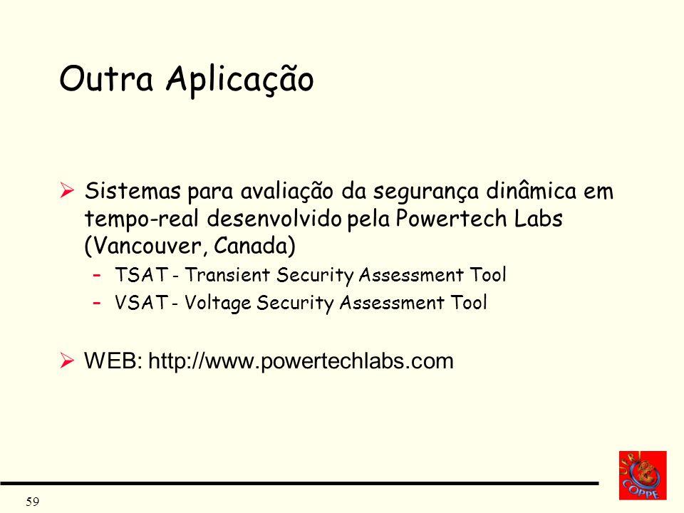 Outra Aplicação Sistemas para avaliação da segurança dinâmica em tempo-real desenvolvido pela Powertech Labs (Vancouver, Canada)
