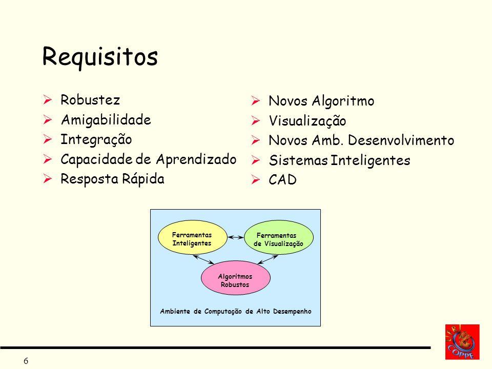 Requisitos Robustez Novos Algoritmo Amigabilidade Visualização