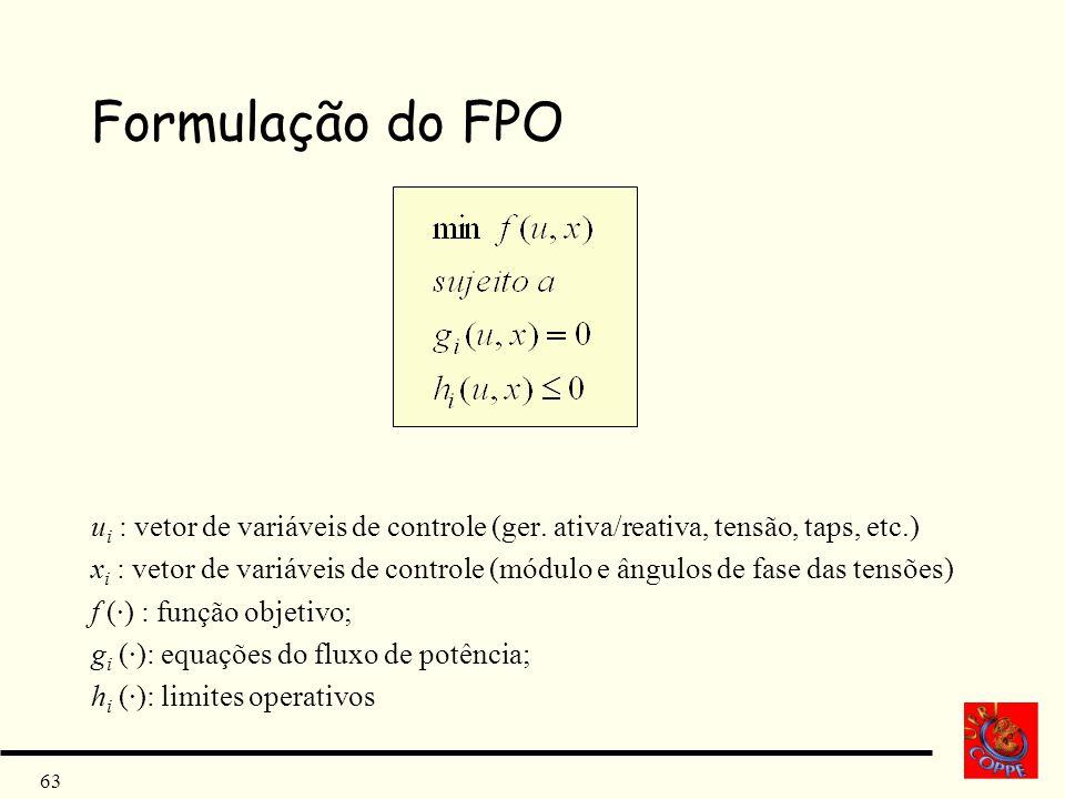 Formulação do FPO ui : vetor de variáveis de controle (ger. ativa/reativa, tensão, taps, etc.)