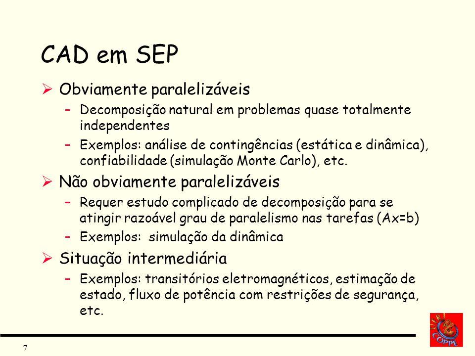 CAD em SEP Obviamente paralelizáveis Não obviamente paralelizáveis