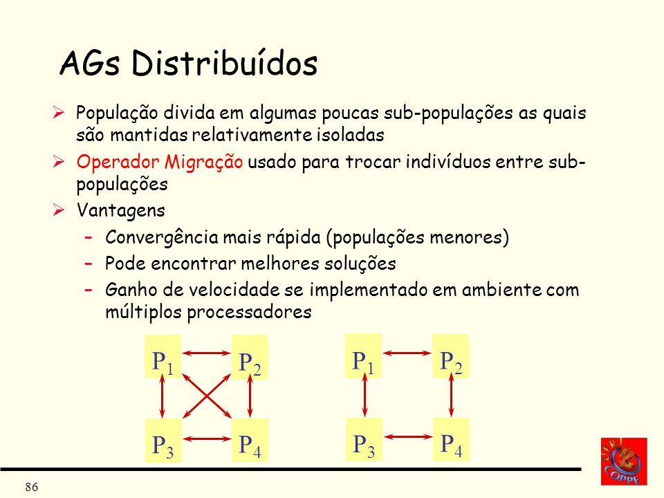 AGs Distribuídos População divida em algumas poucas sub-populações as quais são mantidas relativamente isoladas.