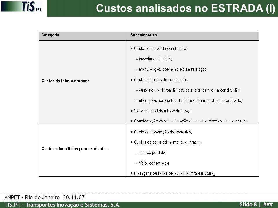 Custos analisados no ESTRADA (I)