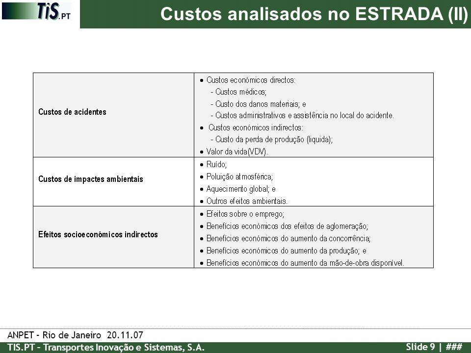 Custos analisados no ESTRADA (II)