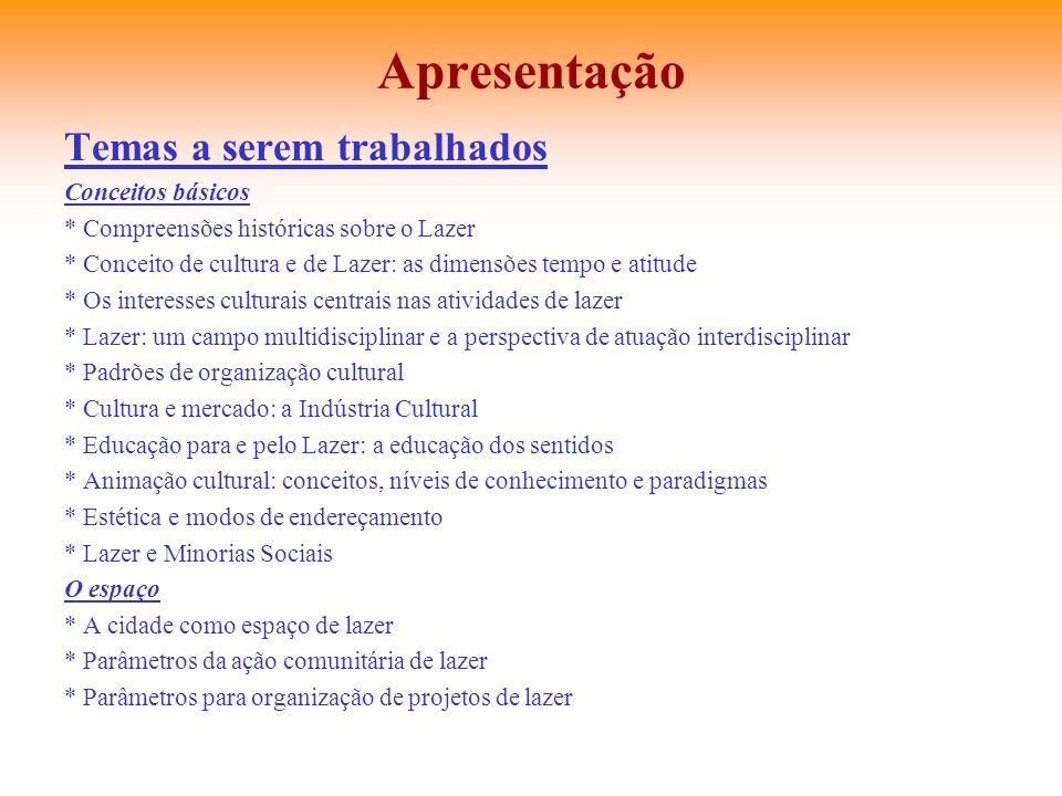 Apresentação Temas a serem trabalhados Conceitos básicos