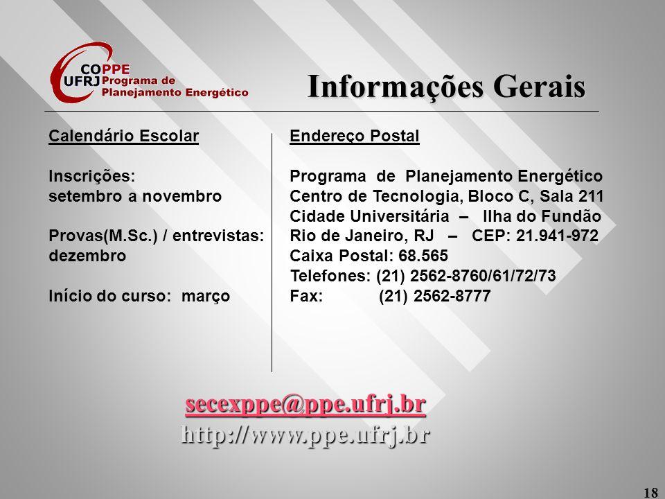 Informações Gerais secexppe@ppe.ufrj.br http://www.ppe.ufrj.br