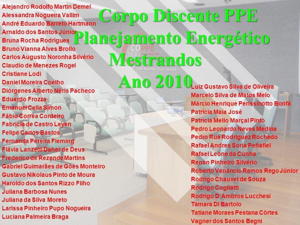 Corpo Discente PPE Planejamento Energético Mestrandos Ano 2010