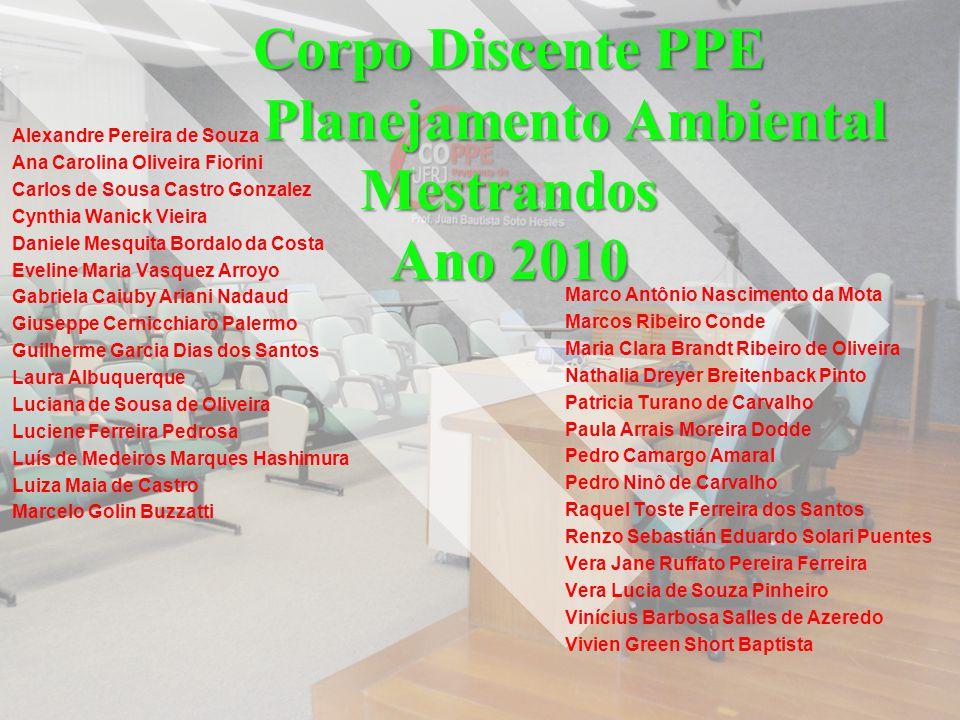 Corpo Discente PPE Planejamento Ambiental Mestrandos Ano 2010