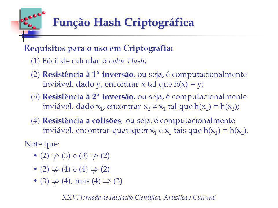 Função Hash Criptográfica Requisitos para o uso em Criptografia: