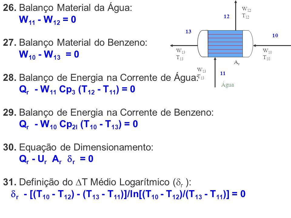 26. Balanço Material da Água: W11 - W12 = 0