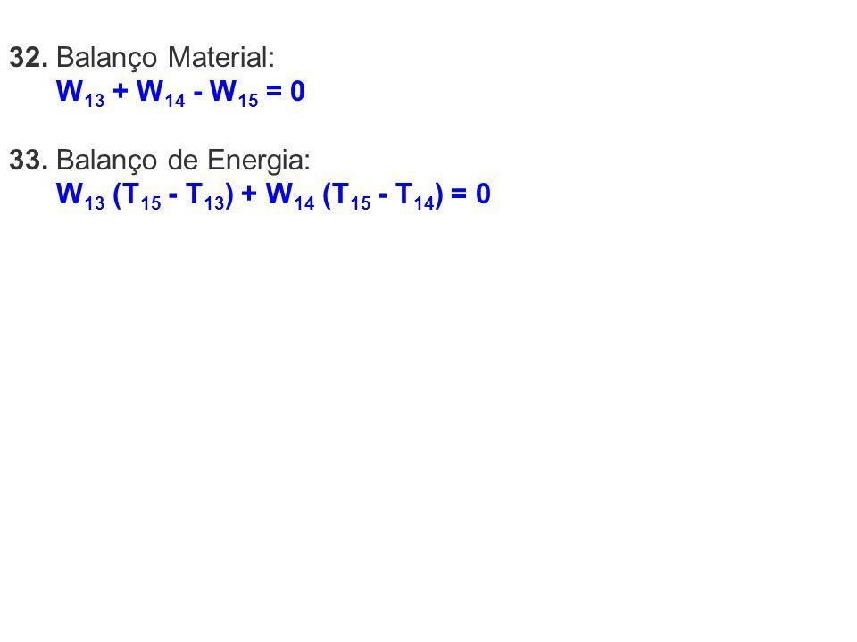 32. Balanço Material: W13 + W14 - W15 = 0. 33.