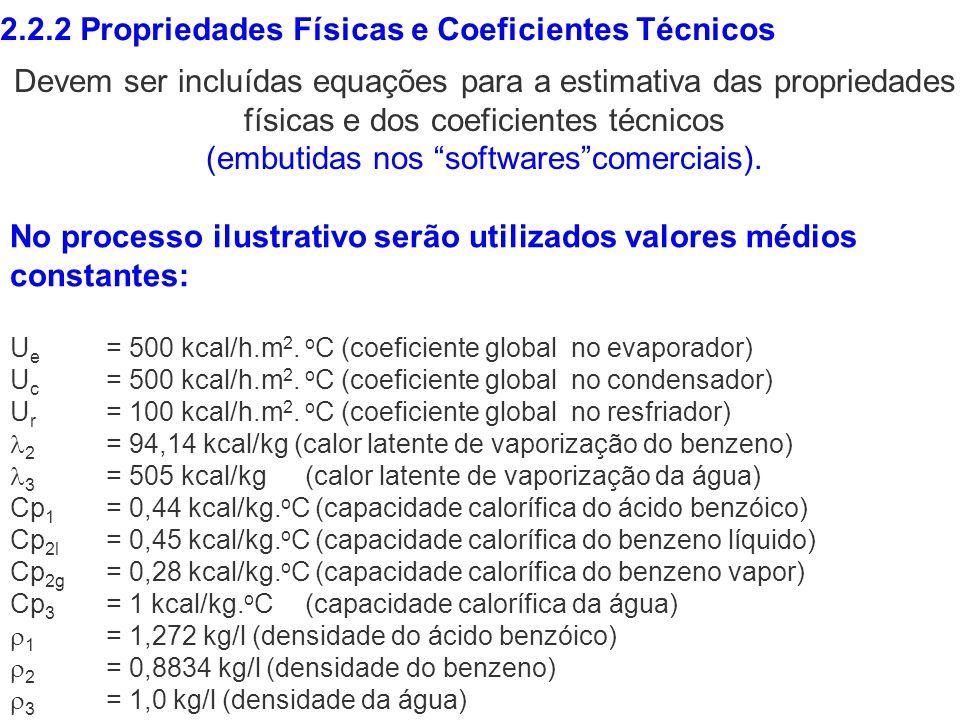 2.2.2 Propriedades Físicas e Coeficientes Técnicos