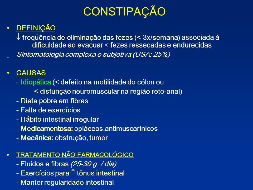 CONSTIPAÇÃO DEFINIÇÃO Sintomatologia complexa e subjetiva (USA: 25%)