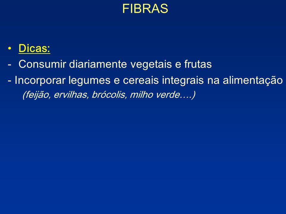 FIBRAS Dicas: Consumir diariamente vegetais e frutas