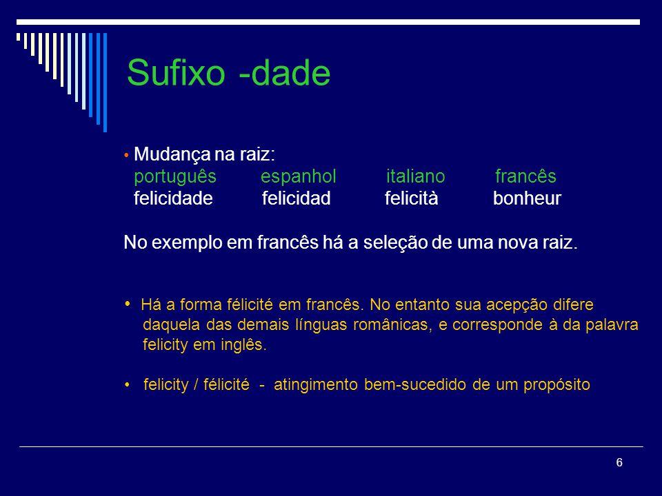 Sufixo -dade português espanhol italiano francês