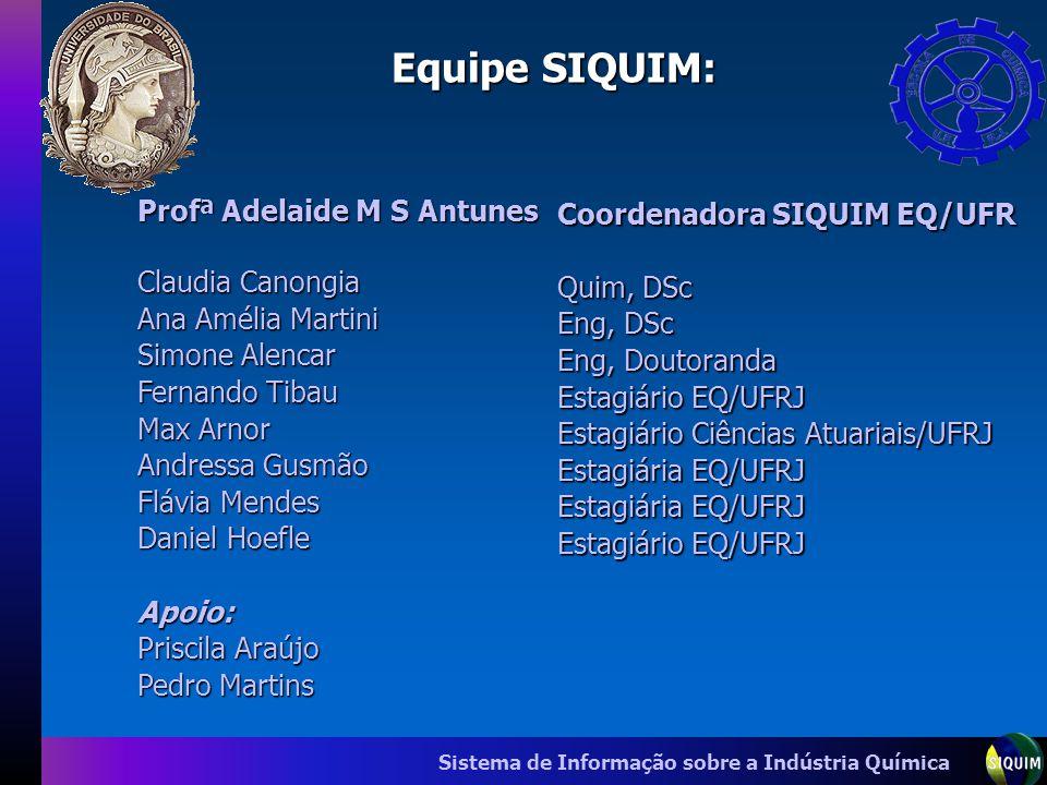 Equipe SIQUIM: Profª Adelaide M S Antunes Coordenadora SIQUIM EQ/UFR