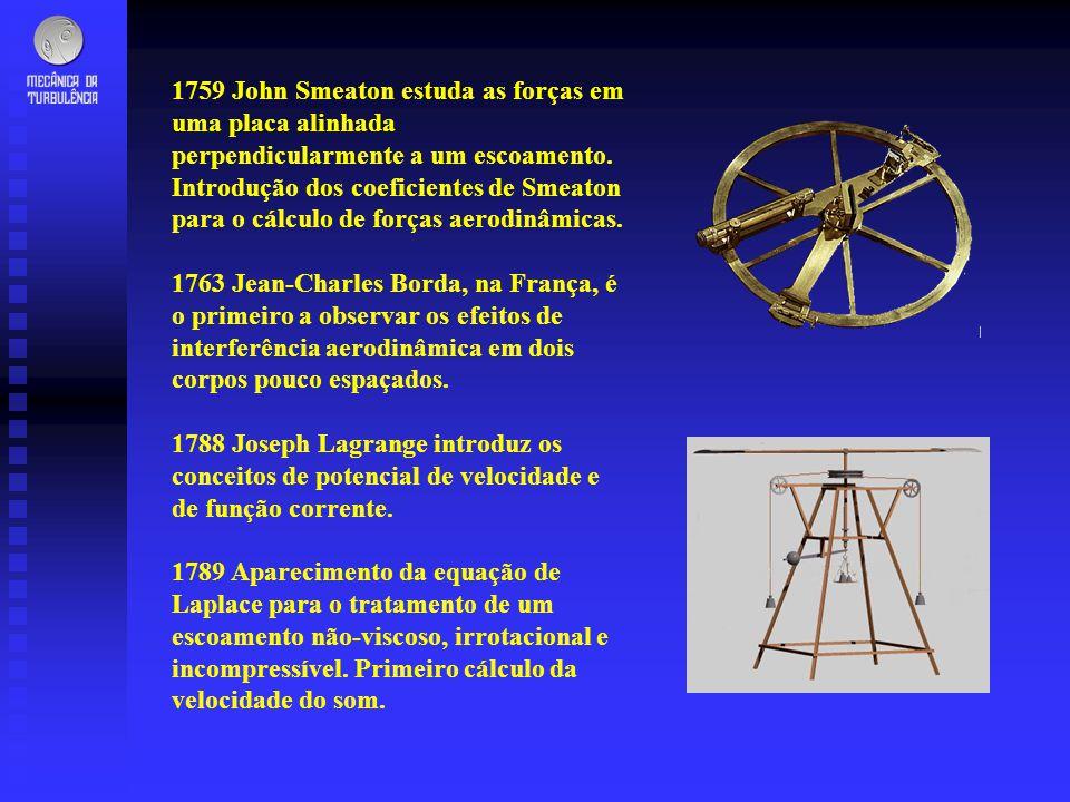 1759 John Smeaton estuda as forças em uma placa alinhada perpendicularmente a um escoamento. Introdução dos coeficientes de Smeaton para o cálculo de forças aerodinâmicas.