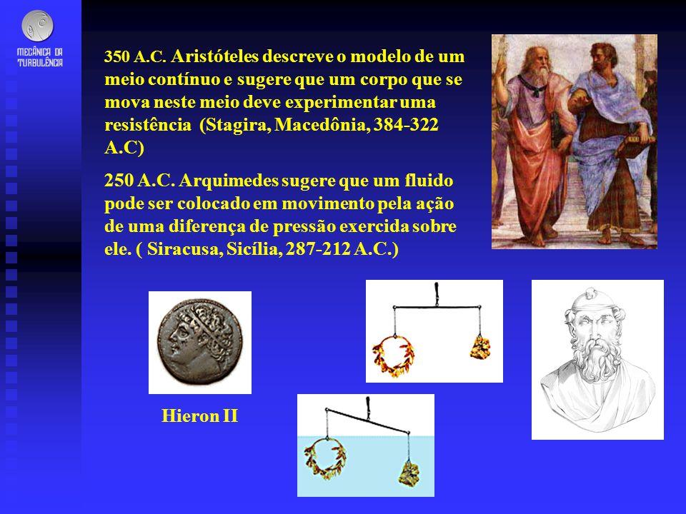 350 A.C. Aristóteles descreve o modelo de um meio contínuo e sugere que um corpo que se mova neste meio deve experimentar uma resistência (Stagira, Macedônia, 384-322 A.C)