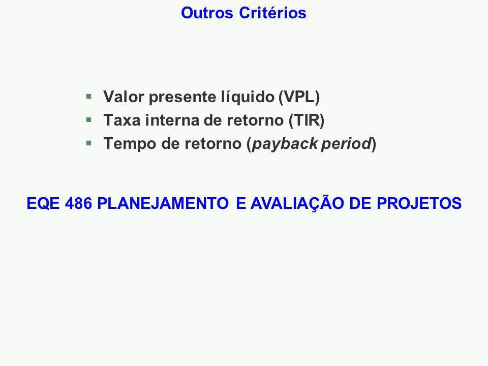EQE 486 PLANEJAMENTO E AVALIAÇÃO DE PROJETOS
