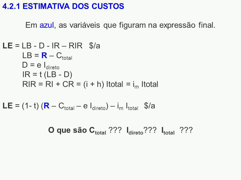 Em azul, as variáveis que figuram na expressão final.