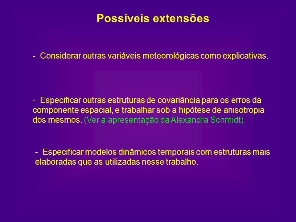 Possíveis extensões - Considerar outras variáveis meteorológicas como explicativas.