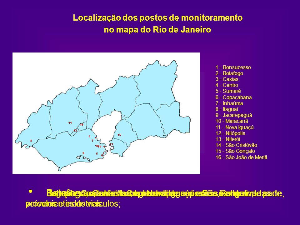 Localização dos postos de monitoramento no mapa do Rio de Janeiro