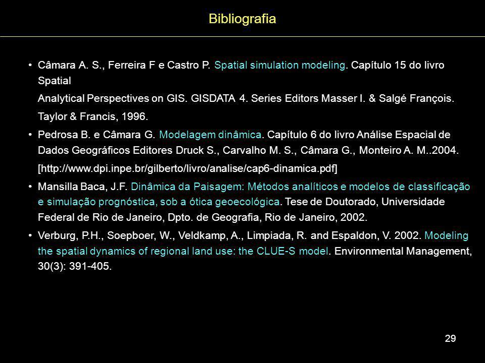 Bibliografia Câmara A. S., Ferreira F e Castro P. Spatial simulation modeling. Capítulo 15 do livro Spatial.