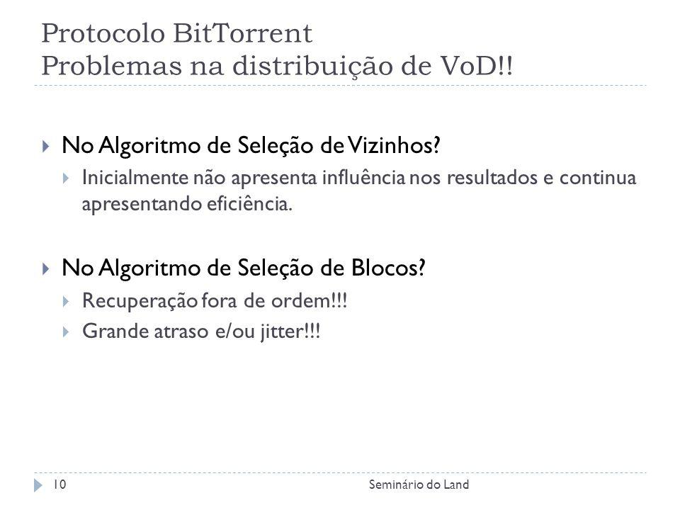 Protocolo BitTorrent Problemas na distribuição de VoD!!