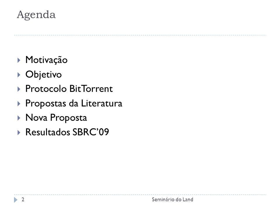 Agenda Motivação Objetivo Protocolo BitTorrent Propostas da Literatura
