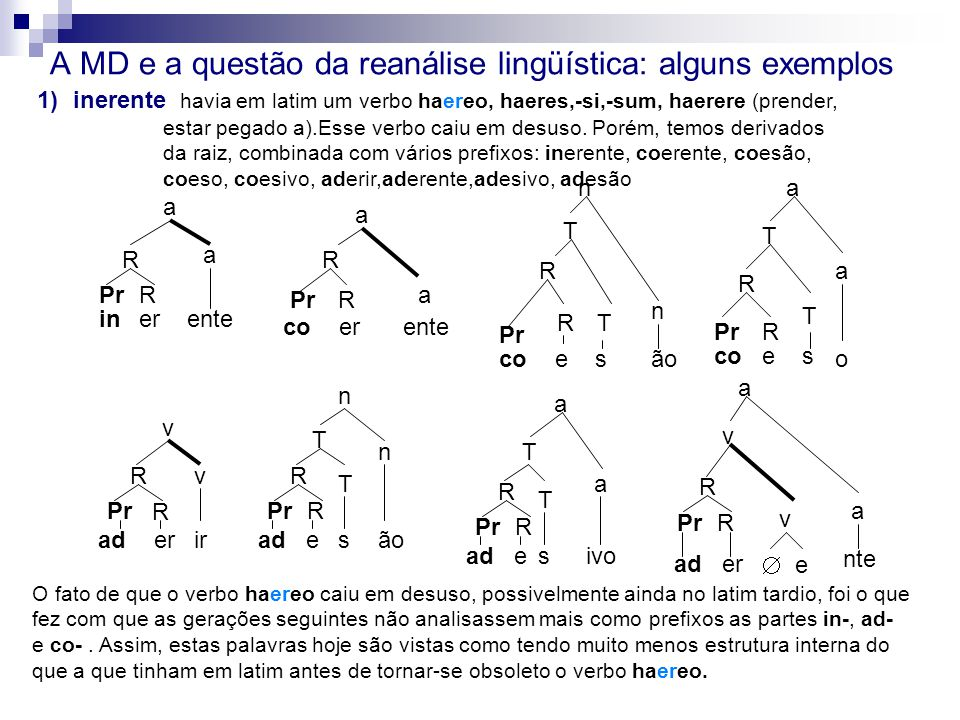 A MD e a questão da reanálise lingüística: alguns exemplos