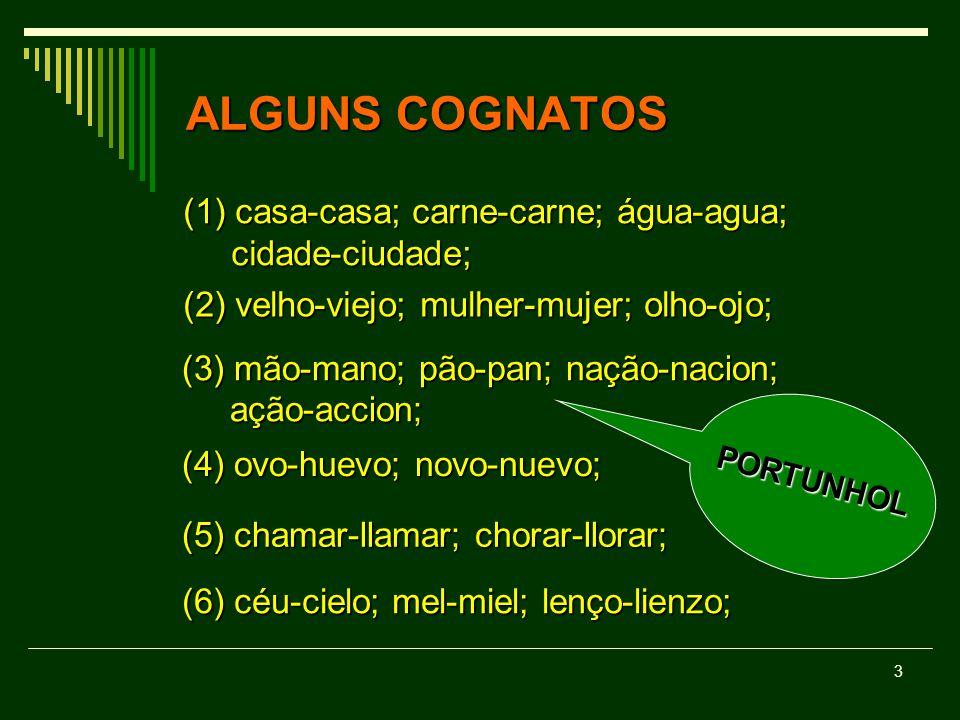 ALGUNS COGNATOS (1) casa-casa; carne-carne; água-agua; cidade-ciudade;