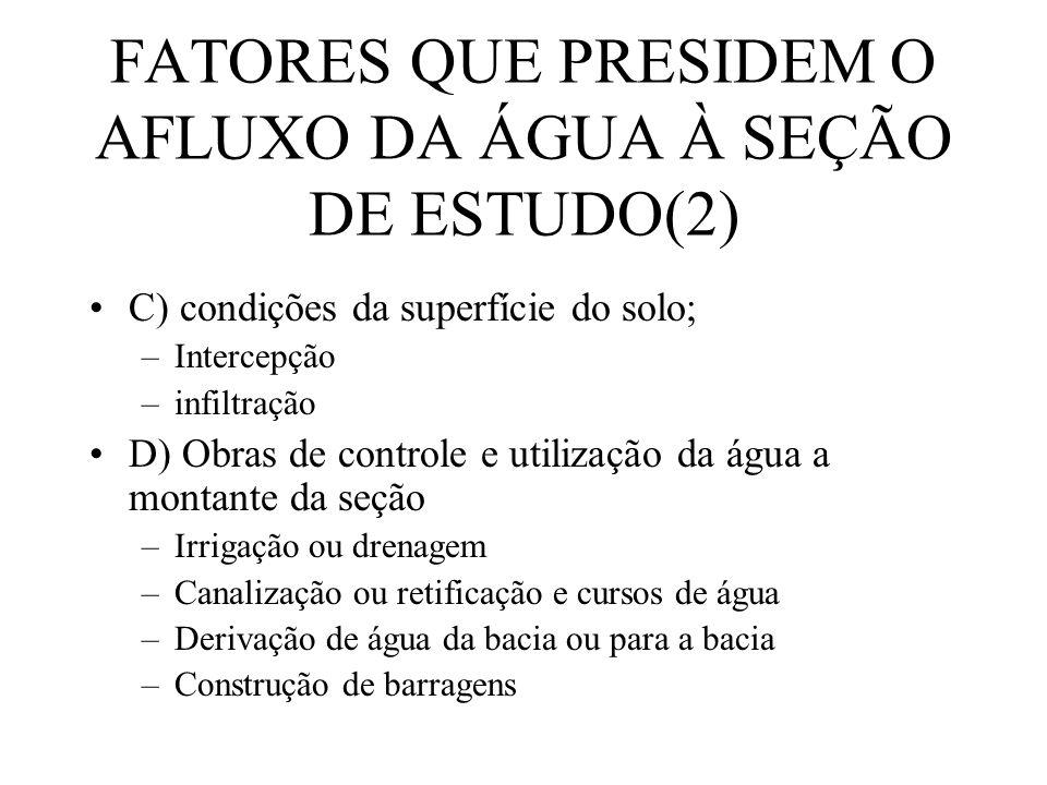 FATORES QUE PRESIDEM O AFLUXO DA ÁGUA À SEÇÃO DE ESTUDO(2)