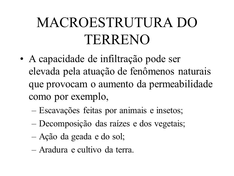 MACROESTRUTURA DO TERRENO