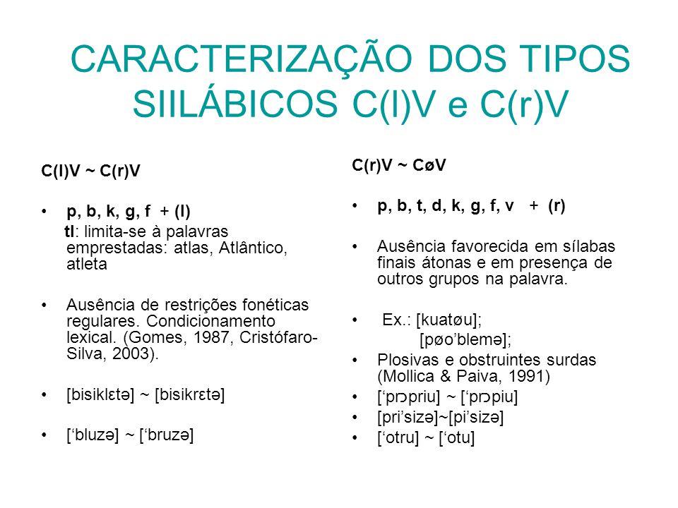 CARACTERIZAÇÃO DOS TIPOS SIILÁBICOS C(l)V e C(r)V