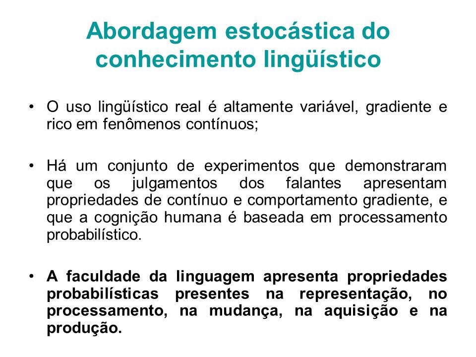 Abordagem estocástica do conhecimento lingüístico