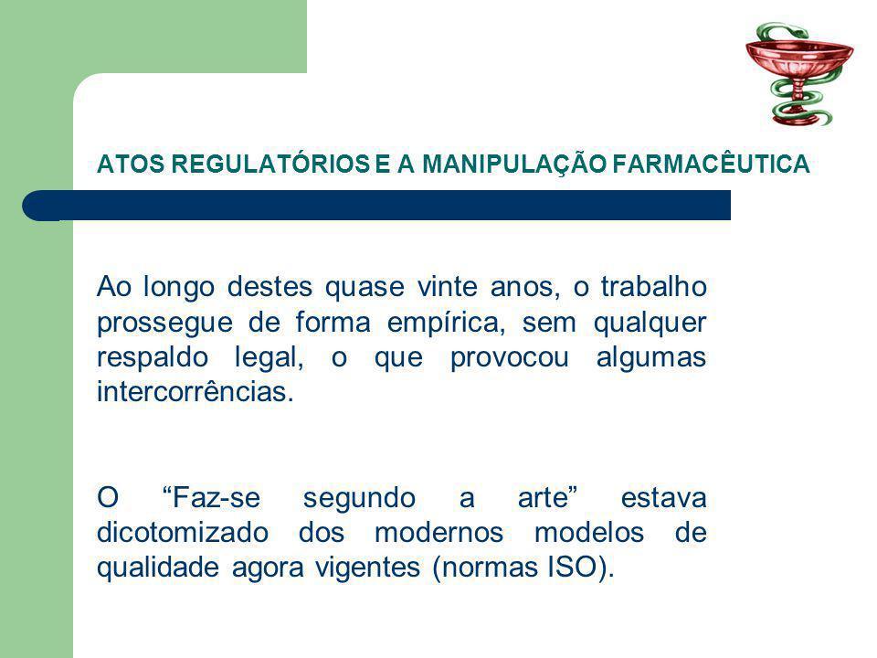 ATOS REGULATÓRIOS E A MANIPULAÇÃO FARMACÊUTICA