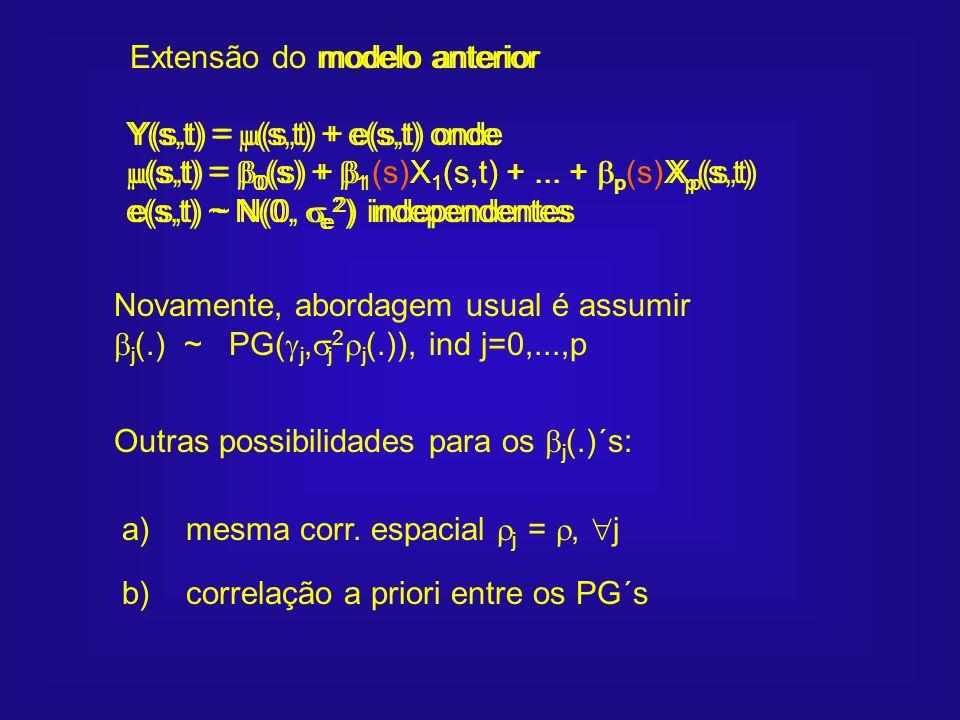 modelo anterior Y(s,t) = (s,t) + e(s,t) onde. (s,t) = 0(s) + 1 X1(s,t) + ... + p Xp(s,t)