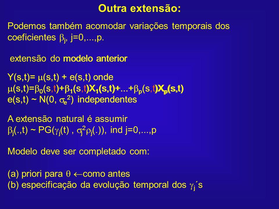 Outra extensão: Podemos também acomodar variações temporais dos coeficientes j, j=0,...,p. Y(s,t)= (s,t) + e(s,t) onde.