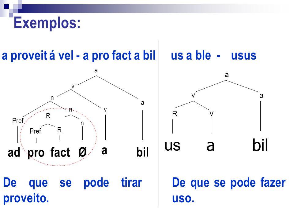 Exemplos: us a bil a proveit á vel - a pro fact a bil us a ble - usus