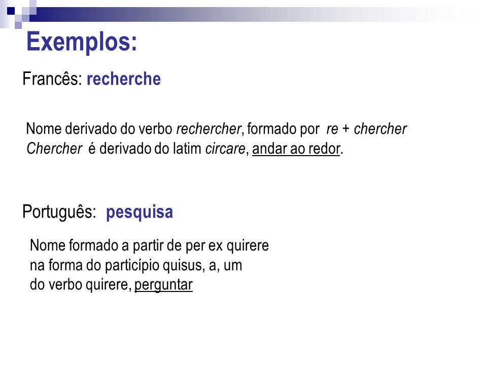 Exemplos: Francês: recherche Português: pesquisa