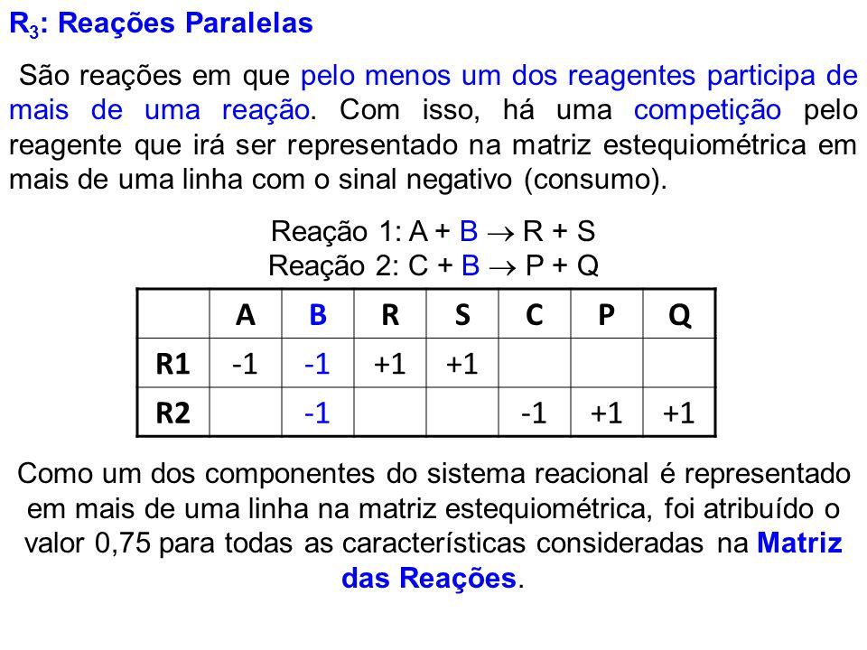 Reação 1: A + B  R + S Reação 2: C + B  P + Q