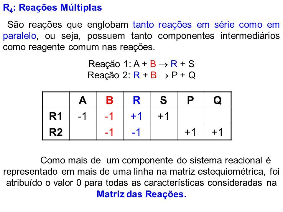 Reação 1: A + B  R + S Reação 2: R + B  P + Q