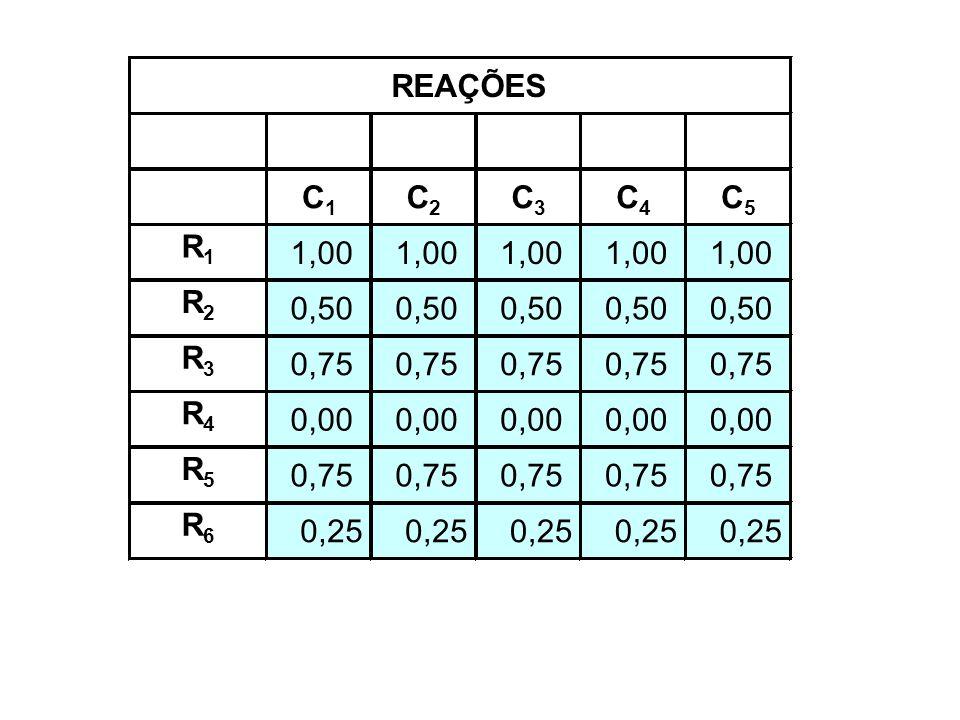 C1 C2 C3 C4 C5 R1 1,00 R2 0,50 R3 0,75 R4 0,00 R5 R6 0,25 REAÇÕES
