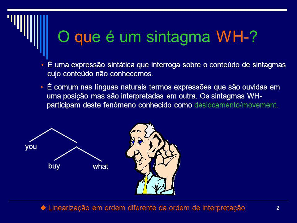 O que é um sintagma WH- qu What did you buy