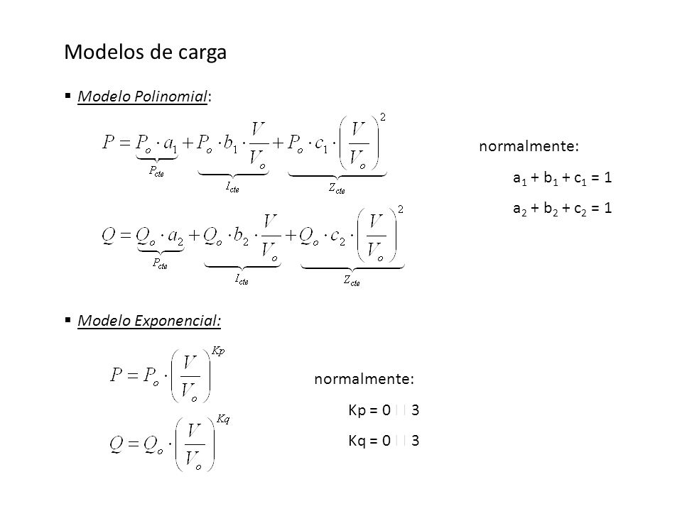 Modelos de carga Modelo Polinomial: normalmente: a1 + b1 + c1 = 1
