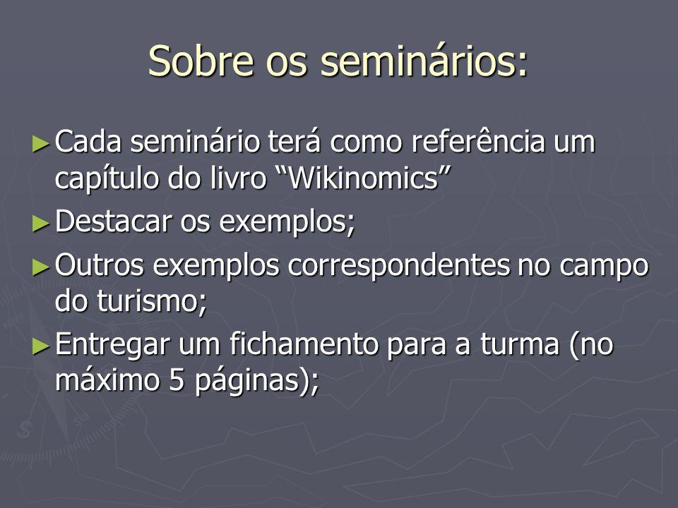 Sobre os seminários: Cada seminário terá como referência um capítulo do livro Wikinomics Destacar os exemplos;