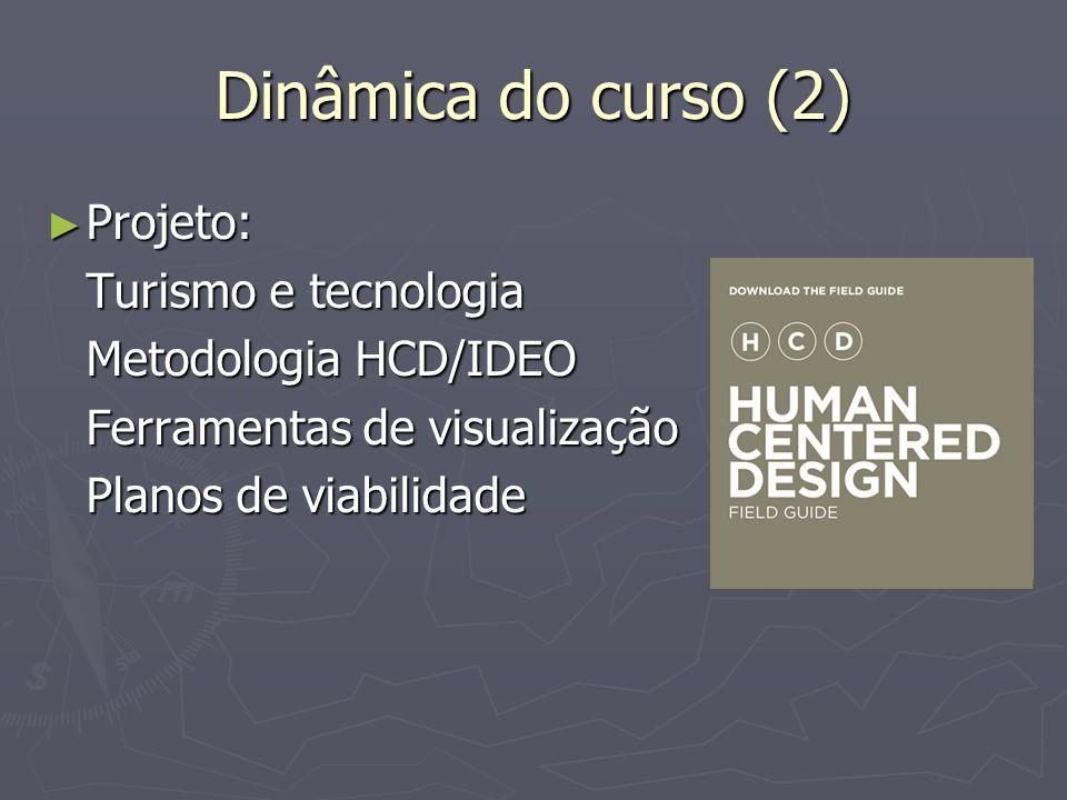 Dinâmica do curso (2) Projeto: Turismo e tecnologia