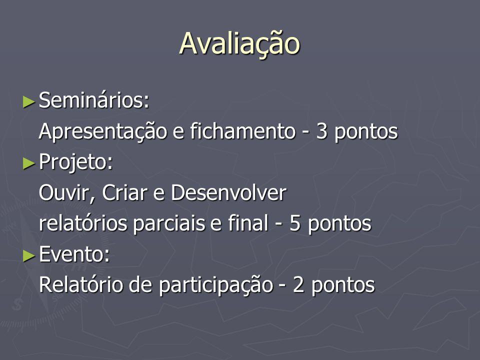 Avaliação Seminários: Apresentação e fichamento - 3 pontos Projeto:
