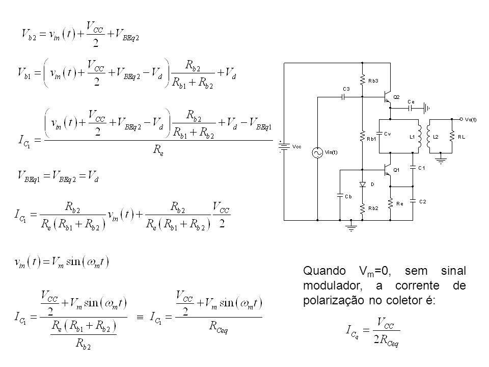 Quando Vm=0, sem sinal modulador, a corrente de polarização no coletor é: